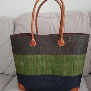 New/unused Handmade Woven tote with drawstring